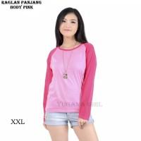 Baju Kaos T-Shirt Raglan Warna Jumbo Lengan Panjang
