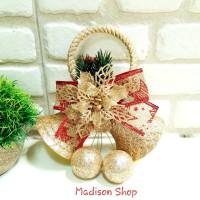 Lonceng Krans Natal Murah Dekorasi Bunga Pita Emas Grosir Pohon Natal