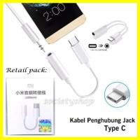 Kabel Jack Xiaomi Converter Tipe c Konektor earphone to audio Aux hp