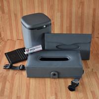 1 Set Aksesoris Interior Mobil - Tissue Box Headrest , Car Dustbin - Abu-abu