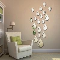 1SET Stiker Cermin 3D Tempel Dekorasi Dinding Tembok Model Water Drops