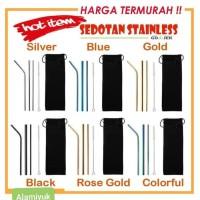 TERMURAH set sedotan stainless 5pcs 3sedotan+sikat+pouch