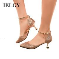 IELGY Sepatu High Heels Sexy Ujung Lancip dengan Strap Mata Kaki Tali