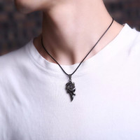 Kalung fashion pria tali hitam motif api naga gift untuk kekasih
