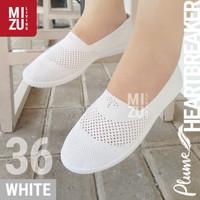 PLUME Heartbreaker Sepatu Jalan Santai SlipOn Flyknit Jala Adem Ringan - WHITE Putih, 36