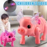 Mainan Babi Berjalan dengan Lampu LED Electric Music Walking Pig Light