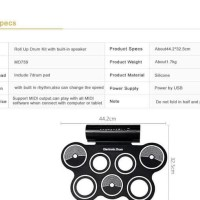 PORTABLE ROLL UP DRUM PAD SET KIT MD759 WITH BUILT-IN SPEAKER WITH CD