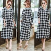 Baju Wanita / Cewek / Fashion Perempuan Long Dress Kotak Risa 11199