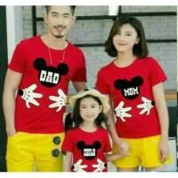 Baju Family Couple Kaos Pasangan Keluarga 1 Anak Mickey Merah 11199