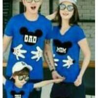 Baju Family Couple Kaos Pasangan Keluarga 1 Anak Mickey Biru 11201