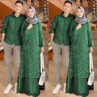 Baju Couple Muslim / Gaun Batik Gamis Pasangan Cp Pelino Hijau 11195