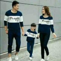 Hoodie Family Couple Baju Keluarga 1 Anak Lengan Panjang Pusple 11204