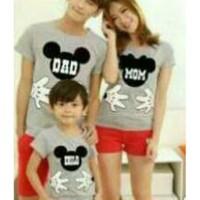 Baju Family Couple Kaos Pasangan Keluarga 1 Anak Mickey Abu 11200