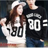 Baju Couple Lengan Panjang Kaos pasangan good luck 11194
