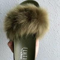 Sandal Bulu Bulu Lebat Fenty Hijau Army / Sendal Hijau Army