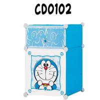 COD Lemari plastik portable sisi ranjang hellokity, spiderman,doraemon