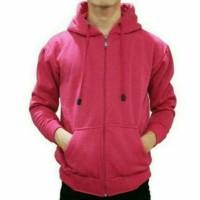 Jaket Sweater Polos Pink Hoodie Zipper Resleting Pria Wanita M L XL