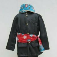 Pakaian adat anak baju betawi+blangkon size S - M - Biru, S