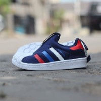 Sneakers Original (BNWB) Adidas Kids Superstar Slip On Navy Tricolor