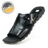 Sandal Slide Pria Kulit Asli Black Light Semi Formal Best Y2424