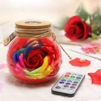 Rose flower lamp rgb led home decor lampu botol meja hias bunga mawa