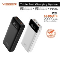 VEGER Q21 20000mAh Digital Display PowerBank Quick Charge QC 3.0 + PD