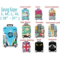 Sarung Cover Pelindung Koper Elastis Luggage Cover Character
