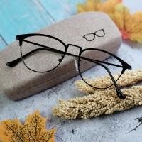 Kacamata Anti Radiasi Vintage kekinian Gratis lensa minus -DBP9124 - Hitam