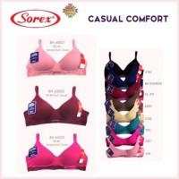 SOREX Bra 65003 Tanpa Kawar Busa Tipis Cup B, Tosca & Pink size 34-40