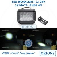Lampu Cree 12 Mata Lensa 4D Jendol Sorot Tembak Waterproof