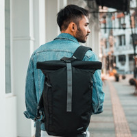Tas Ransel Punggung Gulung Rolltop Backpack - Wanderlust Lucerne Black