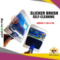 Slicker Brush Self-Cleaning   sisir bulu hewan kucing anjing pet