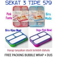 Yooyee Lunch Box Sekat 3 Leak Proof Tipe 579 Anti Tumpah Antar Sekat - Pink Fanta