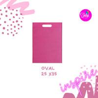 Tas Spunbond 25x35 Oval Pink Polos Goodiebag