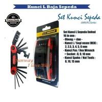 Kunci L Sepeda United satu set 15 fungsi bahan baja best kuality