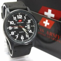 Swiss Army Analog Jam Tangan Pria Full Hitam DA954G Original