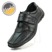 Sepatu Pria Sneakers Casual Kulit Asli Single Strap Black Y6060