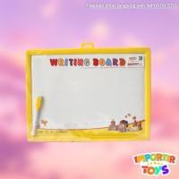 Set Papan Tulis Anak Persegi Panjang Drawing Board Spidol dengan Jam