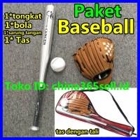 Paket Tongkat Baseball Lembut Sarung Tangan Kelelawar dan Set Bola Kla