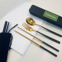 Sedotan Stainless & Korean Cutlery Set Premium - Black Gold