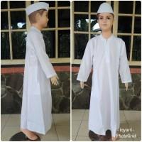Baju koko gamis putih anak laki / cowok peci size 10, 11, 12