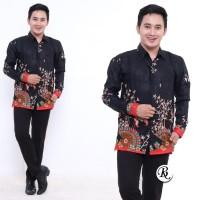 Kemeja Batik Pria Lengan Panjang Motif Kipas Merah - Batik IFA