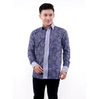 Kemeja Batik Pria Lengan Panjang Biru Kacang - Batik IFA