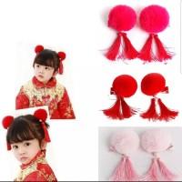 jepit rambut anak pom tassel kids hairclip chinese new year cheongsam