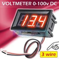 """3 wire Merah ~ DC Voltmeter 0-100v 0.56"""" LED Frame Kabel Volt Meter"""