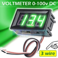 "3 wire Hijau ~ DC Voltmeter 0-100v 0.56"" LED Bingkai Cable Volt Meter"