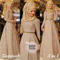 Gamis Wanita Hijab Maxi Zamirah 3in1 Mocca MURAH mtf