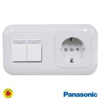 Panasonic Stop Kontak CP + Saklar 2 Gang WEJP11212 WEJ5531 Putih