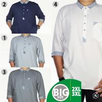Baju Koko Pria Muslim Big Size Jumbo Pakaian Gamis Kemko Chiangi - Putih, XXL