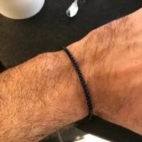 Gelang Rantai Hitam Kecil Titanium Black Pria Cowok